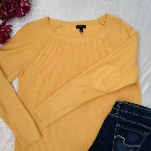 Talbots Elbow Patch Yellow Crew Neck Sweater M